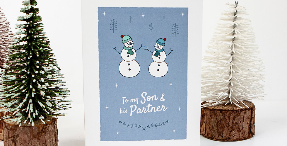To my Son and Partner Snowmen Christmas Card