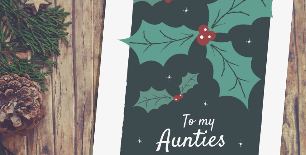 Holly Design Two Aunties Christmas Card