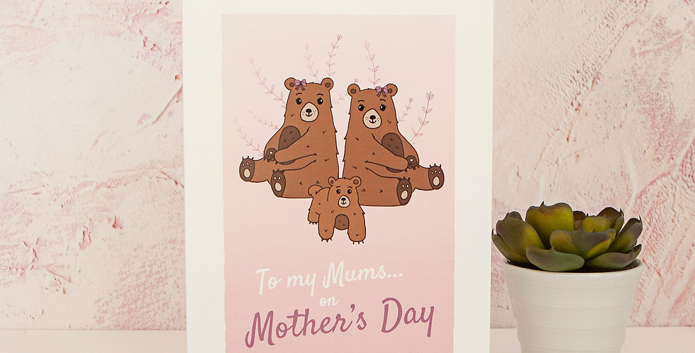 Pink To my Mums Mother's Day Greetings Card Gay Lesbian Mums