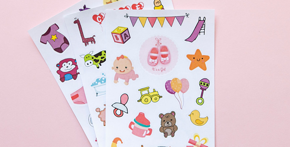 Baby Girl 3 Sticker Sheets