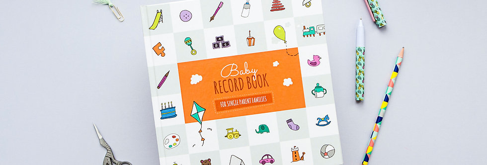 Orange Unisex Colour Single Parent Baby Record Book