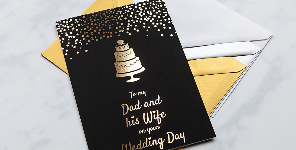 Dad and his Wife Black and Gold Wedding Day Card