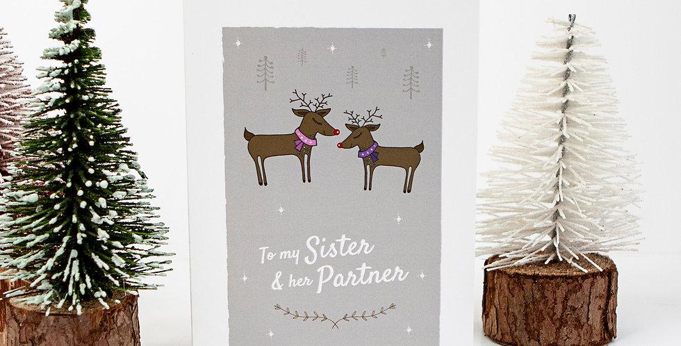 Sister and Her Partner Reindeer Christmas Card