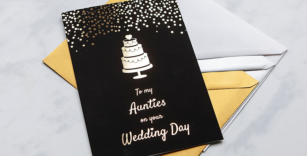 To my Aunties Black and Gold Wedding Card