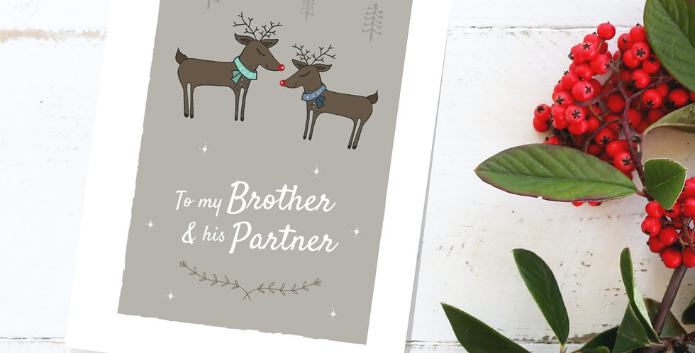 Reindeer Brother and Partner Christmas Card
