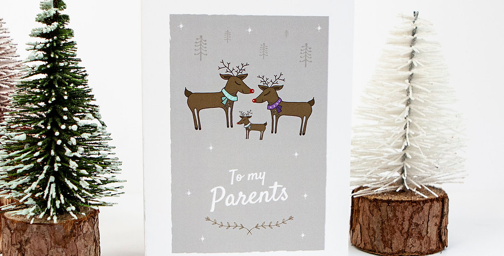 To my Parents Reindeer Christmas Card