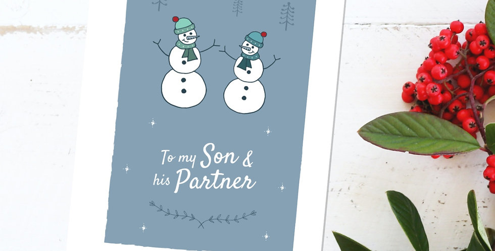 To my Son and his Gay Partner Snowmen Christmas Card Design