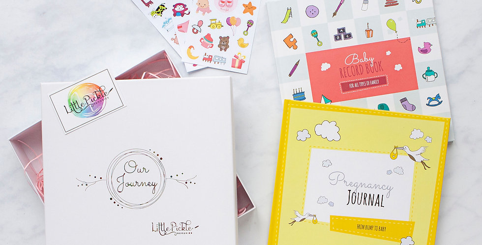Bump to Baby Gift Set (Pregnancy Journal, Baby Record Book and Sticker Sheets)