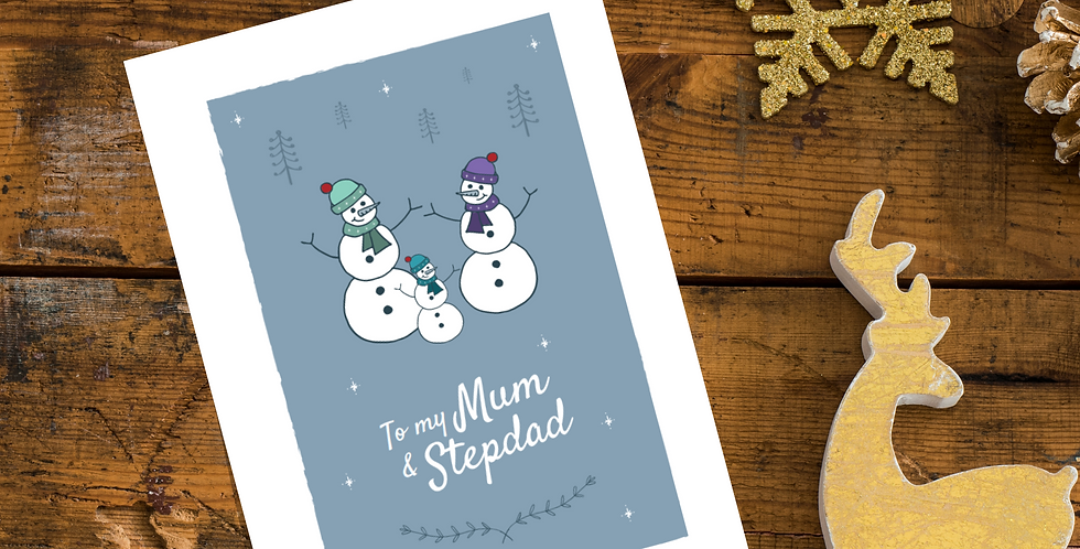 To my Mum and Stepdad Snowmen Christmas Card Design