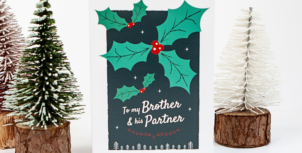 Brother and his Partner Christmas Greetings Card