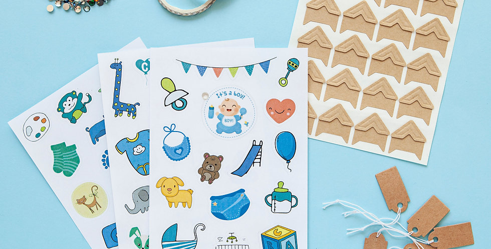 Baby Boy Stickers and Accessories Gift Set