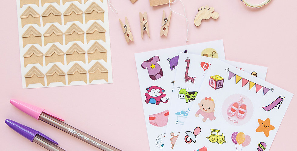 Baby Girl Sticker and Accessories Scrapbook Set