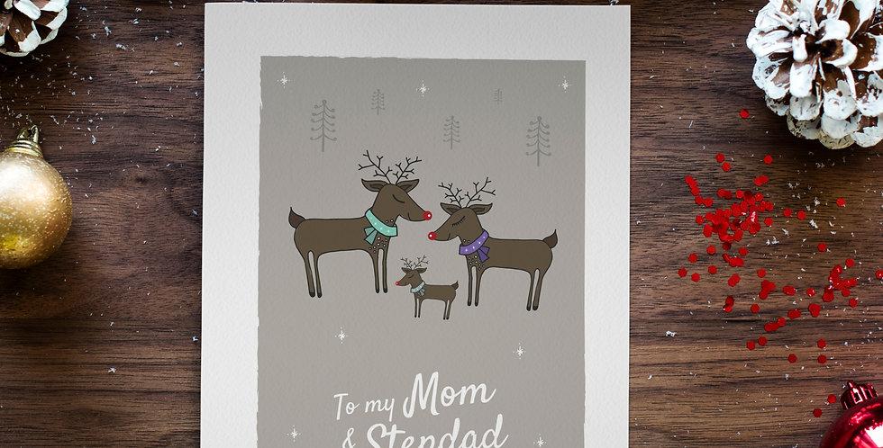To my Mom and Stepdad Christmas Card Reindeer Design