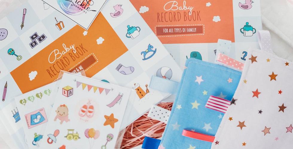 Twin Baby Book Gift Box Set (2 x Baby Record Books, & 2 x Sticker Sheet Sets)