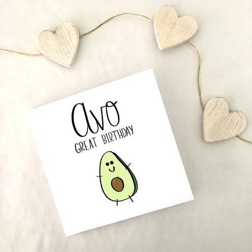 Greetings card - Avo Great Birthday