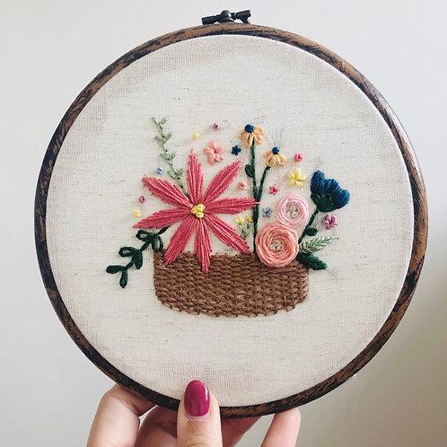 """Basket of Flowers 6"""" Embroidery Hoop"""