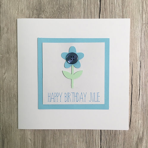 Greetings card - Button flower