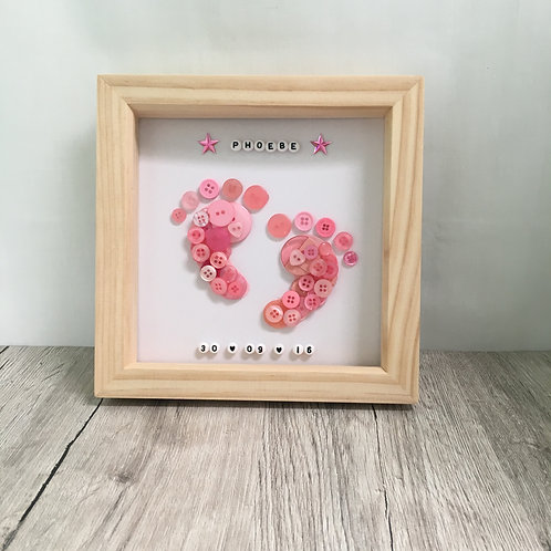 Framed picture - Button baby feet