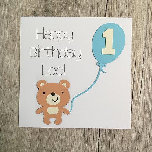 Greetings Card - Teddy and Balloon