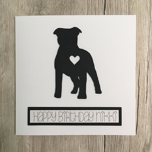 Greetings card - Staffy