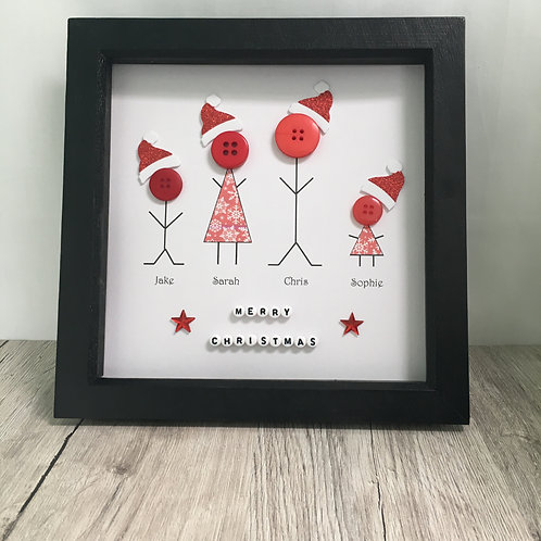 Framed picture - Christmas button family