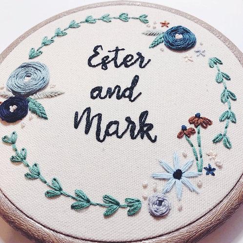 """Custom Floral 6"""" Embroidery Hoop"""