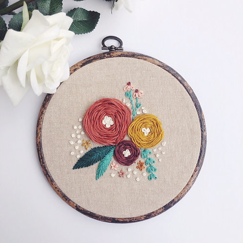 """Autumnal Floral 6"""" Embroidery Hoop"""