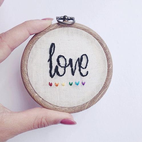 "Mini 3"" Love Embroidery Hoop"