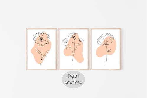 Digital Prints x3 - Floral Line Art (Coloursplash)