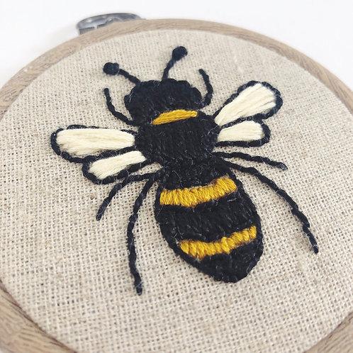 "Mini 3"" Bee Embroidery Hoop"