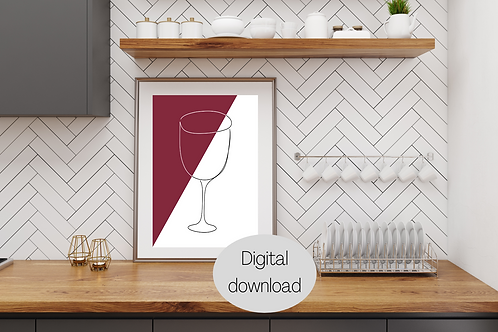 Digital Prints x2 - Wine Line Art