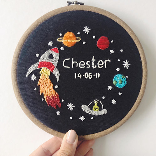 "Space-themed 6"" Embroidery Hoop"