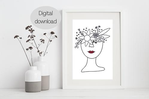 Digital Print - Floral Female Line Art