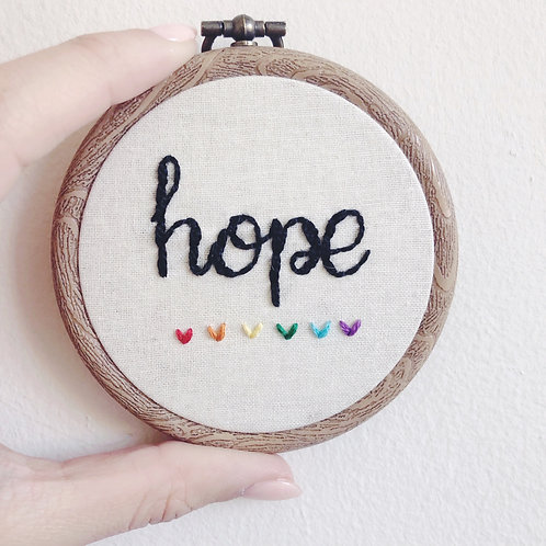 "Mini 3"" Hope Embroidery Hoop"