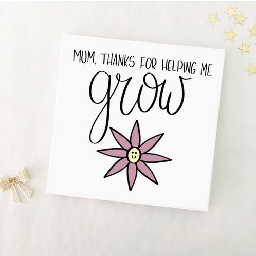 greetings card helping me grow