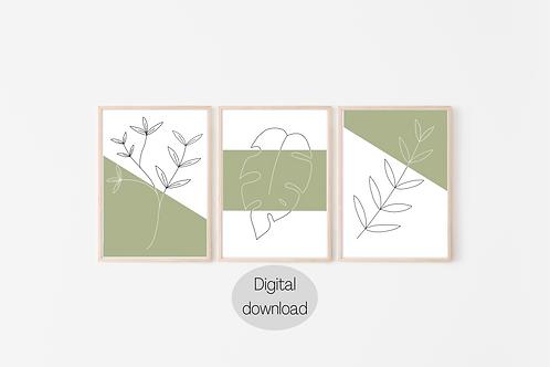 Digital Prints x3 - Botanical Line Art
