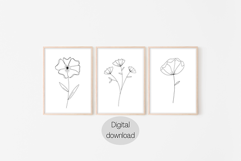 Digital Prints x3 - Floral Line Art (B&W)