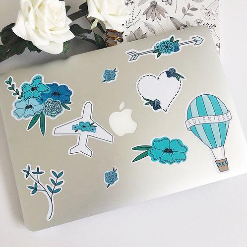 9pcs Blue Floral Sticker Pack