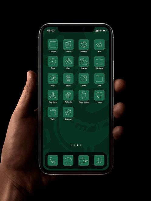 Slytherin (Outline) | iOS 14 Custom App Icons | Full Set