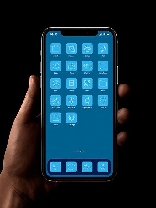 Sky Blue | iOS 14 Custom App Icons | Full Set
