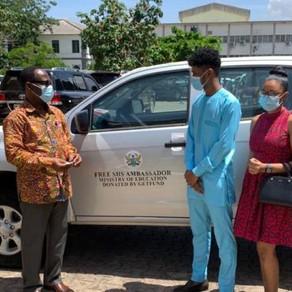 Education Ministry presents vehicle to Free SHS Ambassador, Rahim Banda