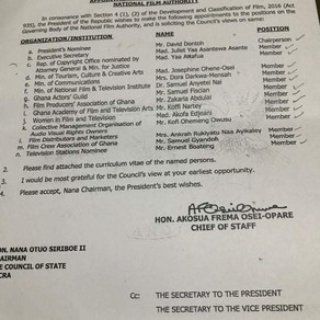 President Appoints SRC LG PATRON and Assist. Head of Tepa SHS onto the National Film Authority (NFA)