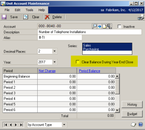 Clear Balance of Unit Accounts Y-E Close Process