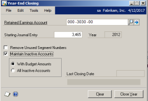 Inactive Accounts with Zero Balance YEC