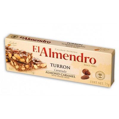 El Almendro Crunchy Caramel Turron w/Sesame 75Gr