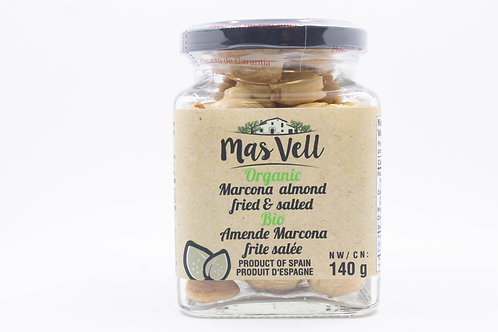 MAS VELL ORGANIC MARCONA ALMOND FRITED7 SALTED 140GR
