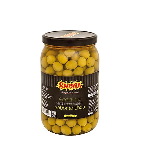 Green Manzanilla Olives Anchovy Flavour by Sarasa, 1.9kg