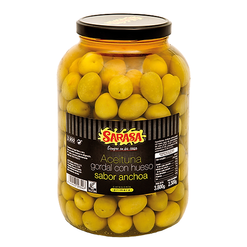 Pitted Gordal Olives Anchovy Flavour by Sarasa, 3.8kg