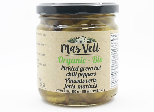 MAS VELL ORGANIC PICKLED GREEN HOTCHILI PEPPERS 370 ML