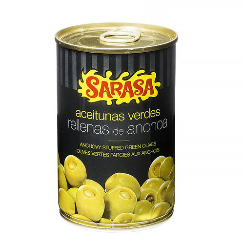 Anchovy Stuffed Manzanilla Olives By Sarasa 370Ml